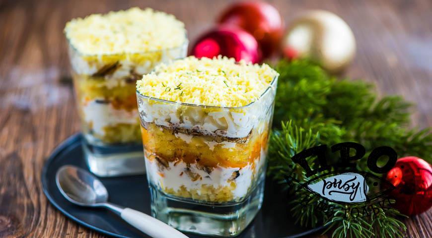 салат мимоза с консервами